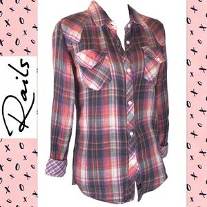 Rails Plaid Button Down Shirt with Reverse Cuff